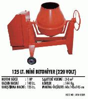 125 lt. Mini Betoniyer (220 Volt)