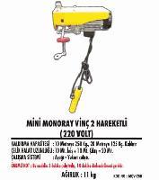 Mini Monoray Vinç 2 Hareketli (220 Volt)