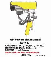Midi Monoray Vinç 2 Hareketli (220 Volt)