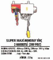 Süper Maxi Monoray Vinç 2 Hareketli(380 Volt)